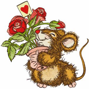 Mouse received a pot of roses as gift