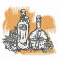 Bottles and flowers embroidery design