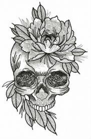 Aristocratic skull machine embroidery design