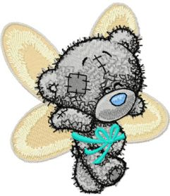Teddy bear can fly machine embroidery design