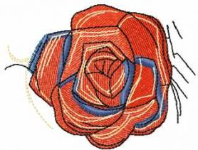 Vintage red rose free embroidery design