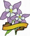 Columbine Flower with Banner  embroidery design