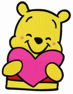 Pooh with Valentine card