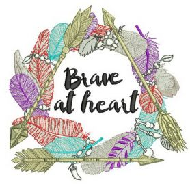 Brave at heart machine embroidery design