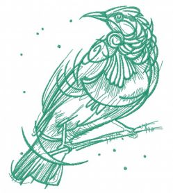 Raven on tree branch one color machine embroidery design