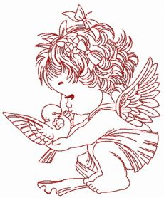 Angel with pigeon 2 machine embroidery design