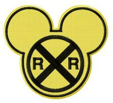 Mickey railroad crossing sign