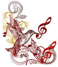 Musical humming-bird machine embroidery design