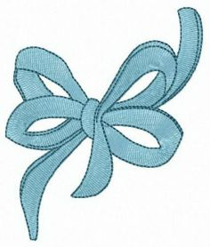 Blue bow machine embroidery design