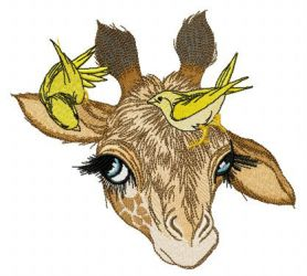 Giraffe and canaries machine embroidery design