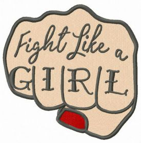 Fight like a girl fist machine embroidery design