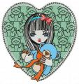 Girl with teddy bear embroidery design