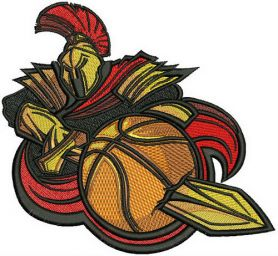 Spartan basketball mascot machine embroidery design
