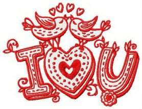 I love you machine embroidery design