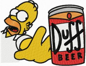 Homer with beer machine embroidery design