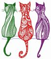 Three cats embroidery design
