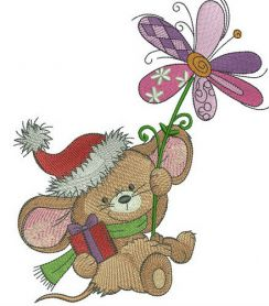 Mousekin with winter flower machine embroidery design