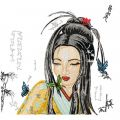 Geisha with Small Butterfy embroidery design