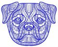 Mosaic pug-dog 2 embroidery design