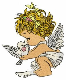 Angel with pigeon machine embroidery design
