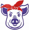 Pig with bandana free embroidery design