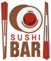 Sushi bar embroidery design