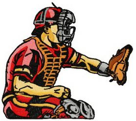 Baseball player 7 machine embroidery design