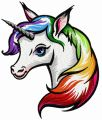 Rainbow unicorn 5 embroidery design