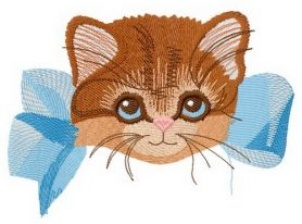 Kitten with bow 2 machine embroidery design