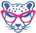Cheetah with glasses free embroidery design