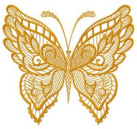 Floral butterfly machine embroidery design