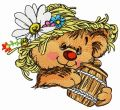 Rustic bear with honey pot 4 embroidery design