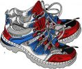Patriotic cross shoes embroidery design