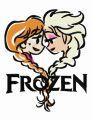 Frozen sisters color sketch embroidery design