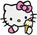 Hello Kitty like ice cream embroidery design