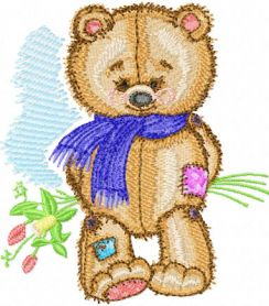 Old Toys Teddy Bear with Bouquet  machine embroidery design