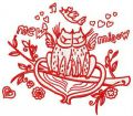 Cat's love 2 embroidery design