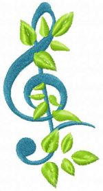 Treble clef free machine embroidery design