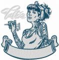 Tattoo girl embroidery design