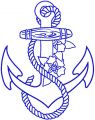 Anchor one colored embroidery design