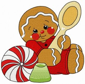 Tea time for gingerbread man 2 machine embroidery design