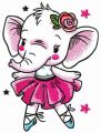 White elephant dances embroidery design