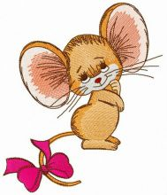 Mouse with bright pink bow