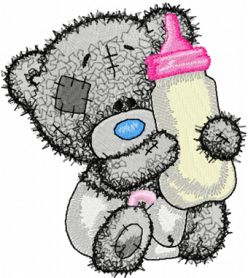 Teddy baby with bottle milk machine embroidery design