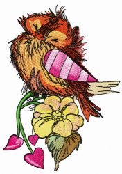 Ruffled sparrow embroidery design