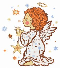 Angel with star machine embroidery design