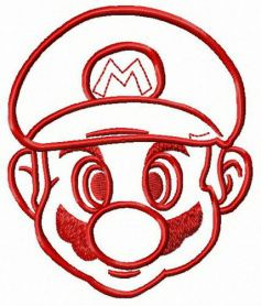 Mario face machine embroidery design