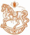 Vintage rocking horse embroidery design