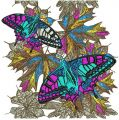 Autumn butterflies embroidery design