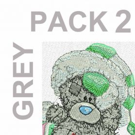 Teddy Bear grey embroidery pack